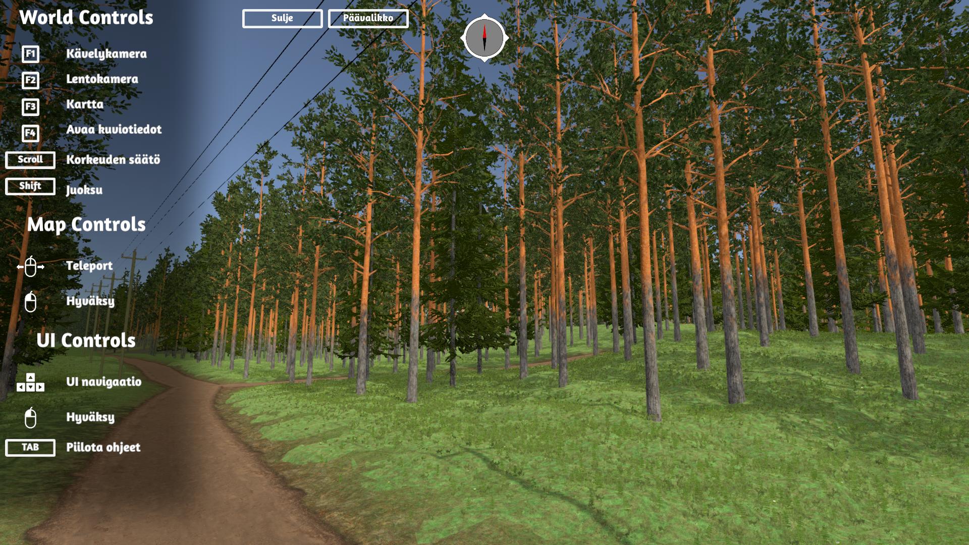 Kuvassa näkymä Virtuaalimetsä-sovelluksen käyttöliittymässä, kuvassa näkyy mäntymetsää.